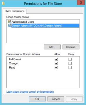 File Store Share Permission