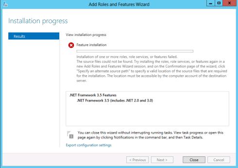 WS2012 dotNetFramework 3.5 Error