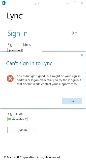 Can't Sign In to Lync (2/5)